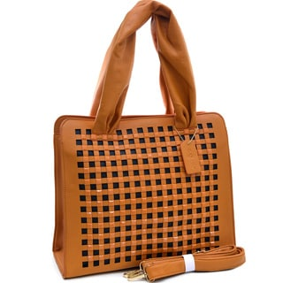 Dasein Studded Chevron Dual Zip Satchel Bag