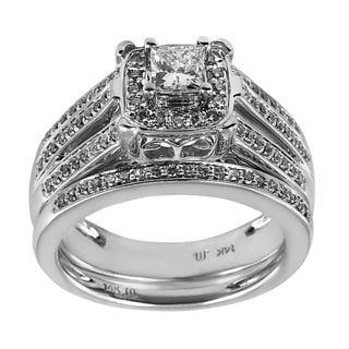 14k White Gold 7/8ct TDW Princess Cut Triple Row Diamond Bridal Set (H-I, I1-I2)