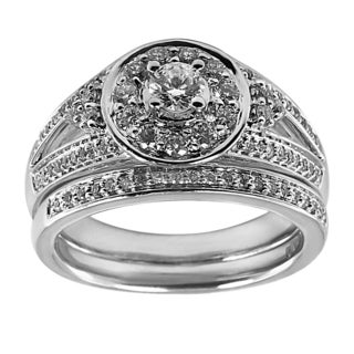 14k White Gold 4/5ct TDW Round Center Diamond Bridal Set (G-H, I1-I2)