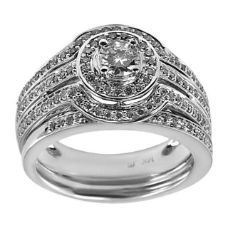 14k White Gold 1ct TDW Round Center Triple Row Diamond Bridal Set (H-I, I1-I2)