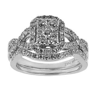 14k White Gold 1ct TDW Multi-stone Diamond Bridal Set (H-I, I1-I2)