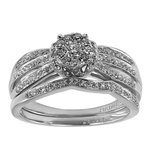 14k White Gold 1/2ct TDW Triple Row Diamond Bridal Set (G-H, I1-I2)