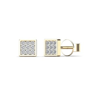 10k Yellow Gold Children's Diamond Accent Square Stud Earrings (H-I, I2)