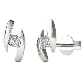 10k White Gold Diamond Accent Fashion Stud Earring