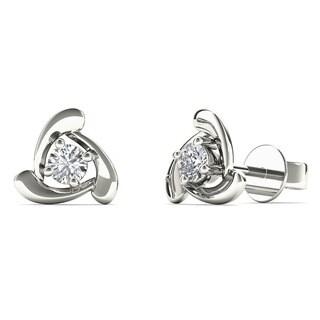 10k White 1/8ct TDW Diamond Triangle Stud Earrings (H-I, I1)