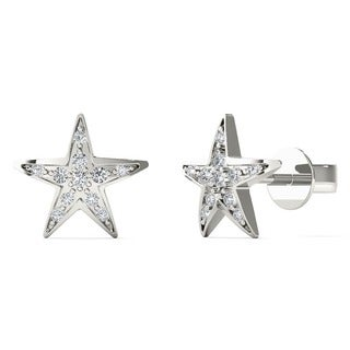 10k White Gold Round-cut Diamond Accent Star Earrings