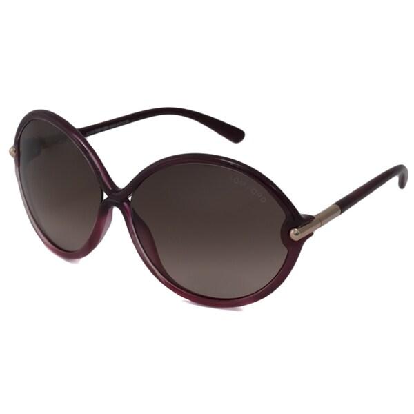Tom Ford Women's Wine TF0225 Rita Oval Sunglasses