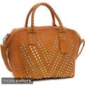 Dasein Chevron Studded Dual Zip Satchel