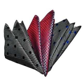 Dmitry Men's Red/Gray Italian Silk Pocket Squares (Pack of 3)