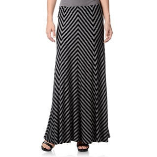 Chelsea & Theodore Women's Black/ Grey Striped Maxi Skirt