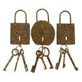 Metal Key Set Decor (Set of 3)