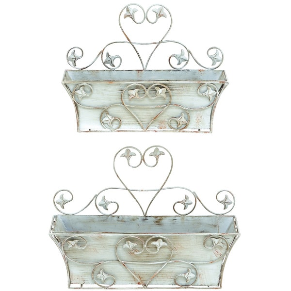 Classic Metal Wall Planter with Rustic Finish - Set of 2