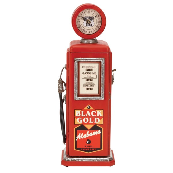 Red Wood Gas Pump Clock