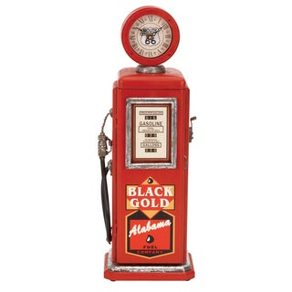 Red Wood Gas Pump Clock