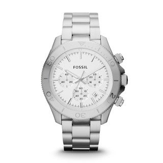 Fossil Men's 'Retro Traveler' Silver Stainless Steel Chronograph Military Time Watch
