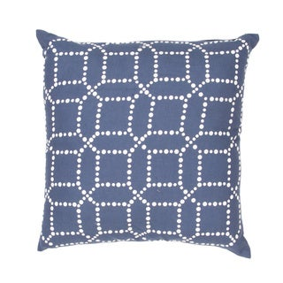 Handmade Blue/ Ivory Cotton/ Flax 18x18-inch Pillow