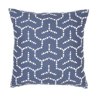 "Handmade Blue/ White Cotton/ Flax (18""x18"") Pillow"