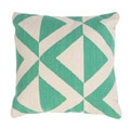 Handmade Green/ Ivory Cotton 18x18-inch Throw Pillow