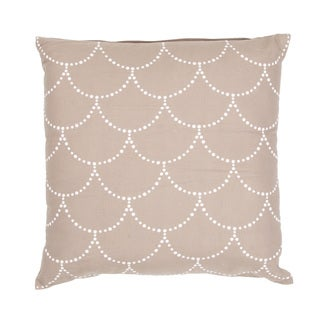 Handmade Taupe/ Ivory Cotton/ Flax 18x18-inch Throw Pillow