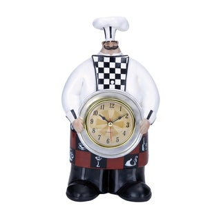 Chef Wall Clock with Dainty Checkered Pattern