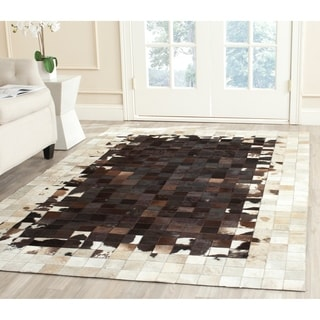 Safavieh Hand-woven Studio Leather Ivory/ Dark Brown Leather Rug (8' x 10')