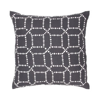 Handmade Charcoal/ White Cotton/ Flax 18x18-inch Throw Pillow