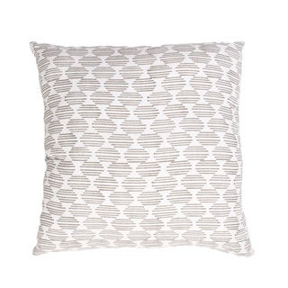 Handmade Ivory/ White/ Gray Cotton 18x18-inch Throw Pillow