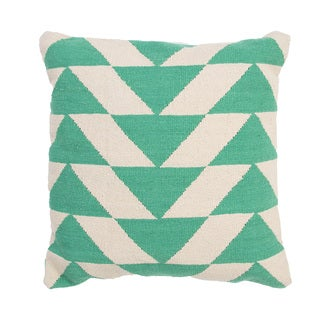 Handmade Green/ Ivory Cotton 18x18-inch Throw Pillow