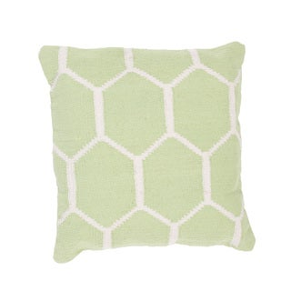 Handmade Green/ White Cotton 18x18-inch Throw Pillow