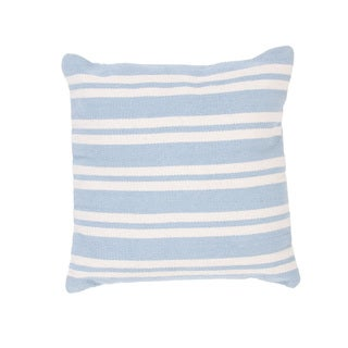 Handmade Blue/ White Striped Cotton 18x18-inch Throw Pillow