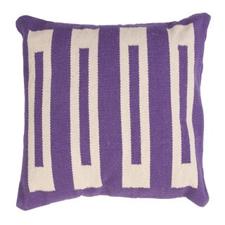 Handmade Purple/ Ivory Cotton 18x18-inch Pillow