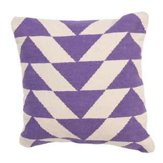 Handmade Purple/ Ivory Cotton 18x18-inch Throw Pillow