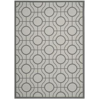 Safavieh Indoor/ Outdoor Courtyard Light Grey/ Anthracite Rug (5'3 x 7'7)