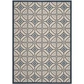 Safavieh Indoor/ Outdoor Courtyard Beige/ Navy Polypropylene Rug (5'3 x 7'7)