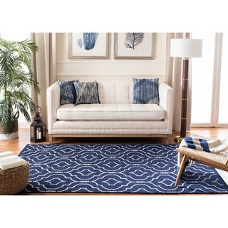 Safavieh Hand-woven Moroccan Reversible Dhurries Navy/ Ivory Wool Rug (5' x 8')