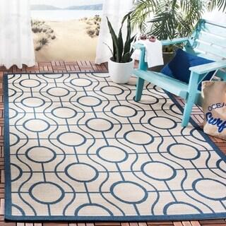 Safavieh Indoor/ Outdoor Courtyard Aqua/ Light Grey Rug (8' x 11')