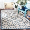 Safavieh Indoor/ Outdoor Courtyard Aqua/ Light Grey Rug (8' x 11')