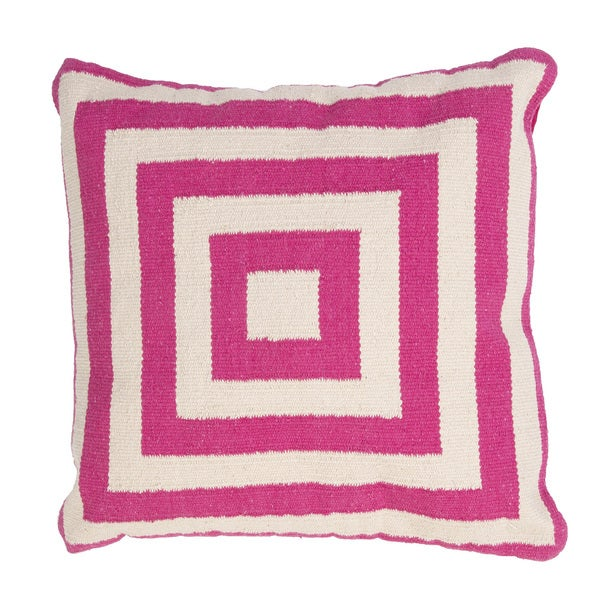 Handmade Pink/ Ivory Cotton 18x18-inch Pillow
