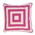 Handmade Pink/ Ivory Cotton 18x18-inch Pillow