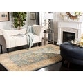 Safavieh Handmade Classic Blue/ Light Gold Wool Rug (5' x 8')