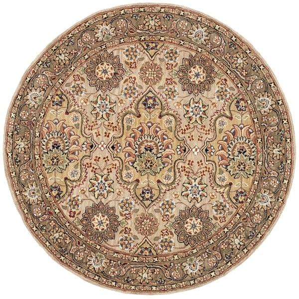 Safavieh Handmade Persian Court Ivory/ Taupe Wool/ Silk Rug (4' Round)