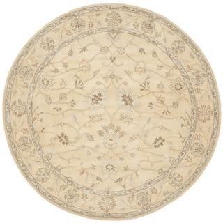 Safavieh Handmade Wyndham Light Gold/ Light Gold Wool Rug (7' Round)
