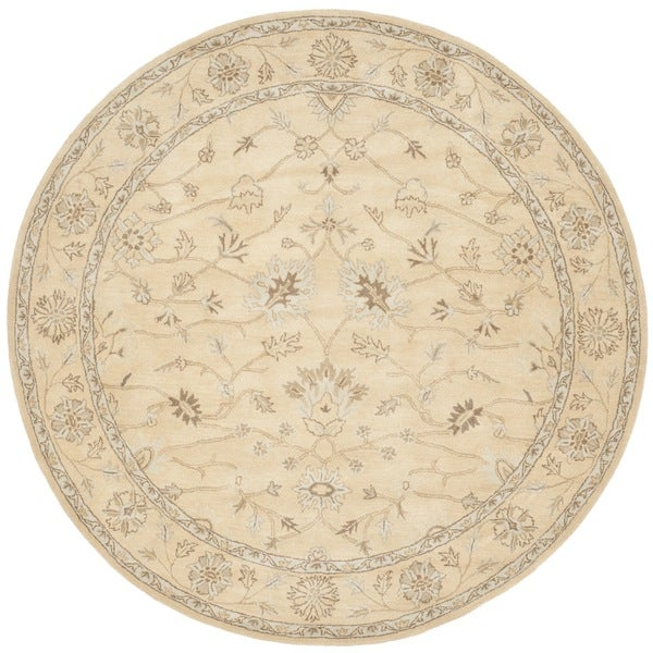 Safavieh Handmade Wyndham Light Gold/ Light Gold Wool Rug (7' Round)