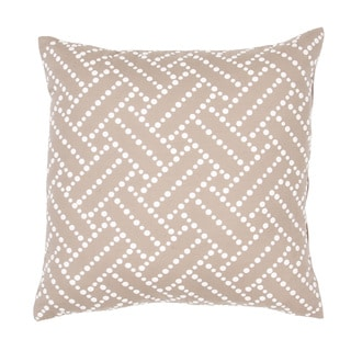 Handmade Tan/ White Cotton/ Flax 18x18-inch Throw Pillow