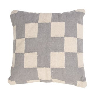Handmade Gray/ Ivory Cotton 18x18-inch Throw Pillow