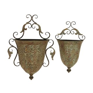 Artistic Rust Metal Wall Planter Set (Set of 2)