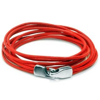 Ameli Skinny Leather Red/Silver Closing Bracelet