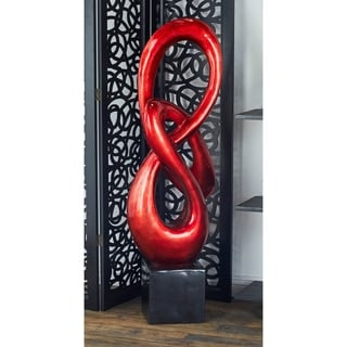 Red and Black Polystone Ribbon-shpaed Sculpture