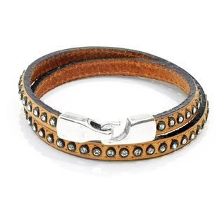 Ameli Glam Multi-Wrap Tan with Crystals Bracelet