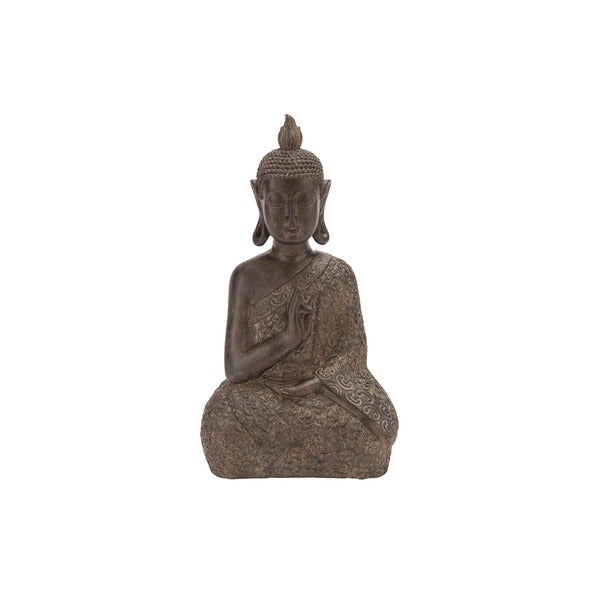 9-inch Wide Brown Polystone Buddha Statue